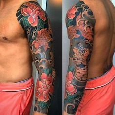 Japanese floral tattoo manly guys full sleeve flower and fish tattoos style lotus Japanese Koi Fish Tattoo, Tattoo Japanese Style, Japanese Lotus, Japanese Sleeve Tattoos, Japanese Flowers, Flower Tattoo On Side, Flower Tattoo Drawings, Flower Tattoo Designs, Tattoo Designs Men