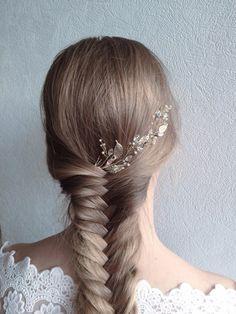 Bridal hair piece Bridal hair vine Leaf headpiece by EoliBridal
