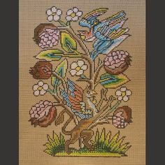 Griffin, Pomegranates and Swooping Bird - Historic British Needlepoint