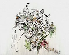 Zebra Art Zebra Painting Watercolor Print Animal by lizkapiloto
