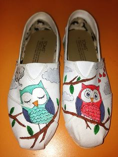 Owl Themed Custom Handpainted Toms Shoes