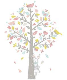 Sticker chambre d'enfant arbre, oiseaux rose et vert - Flora Waycott / Lilipinso XL Tree sticker for girls