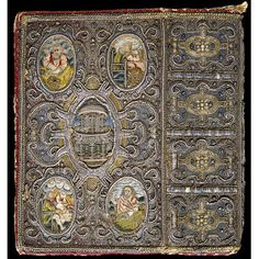 Book cover and book mark (1634) Satin covered board, embroidered with silver, silver-gilt-thread, pearl and coil, coloured silks, and plaited threads