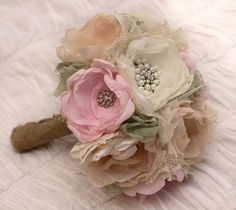 Custom Order: Fabric flower Wedding Bouquet, with  brooches - Sample for Kimberly - SOLD. $200.00, via Etsy.
