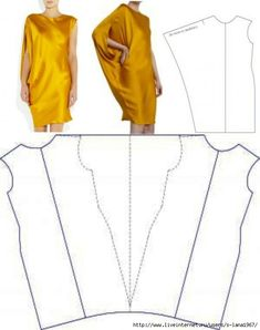 Discover thousands of images about Lanvin Yellow Draped Sleeve Dress pattern. Dress Sewing Patterns, Sewing Patterns Free, Clothing Patterns, Drape Dress Pattern, Cape Pattern, Sewing Ideas, Sewing Projects, Diy Clothing, Sewing Clothes