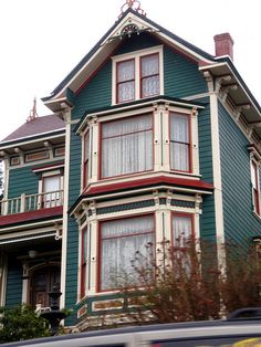 Teal & red Victorian house in Astoria