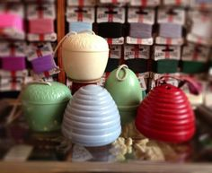 """Vintage Bakelite Yarn Holder Beehives -- oh, I love these! Teapots can be used for """"yarnspouts"""", too."""