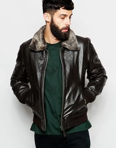 Image 1 ofSchott Leather Bomber Jacket with Faux Fur Collar