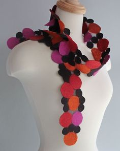 """""""Potpourri Scarf"""" by Mila Sherrer A luxuriously soft and summer-weight hand felted scarf in vibrant colors made a beautiful statement piece."""