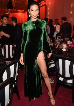 Adriana Lima Absolutely Stuns in Green Velvet Gown at Charity Event from InStyle.com