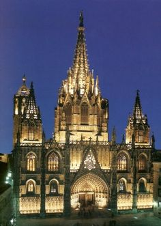 Barcelona Cathedral -At night this looks like a glowing tower of gold.