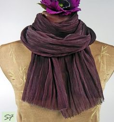Burgundy Scarf, Hand dyed silk scarf, Chiffon, Ruffled, Shibori, Unique Handmade Scarves, long, wearable art, luxury, boho, shebi chic scarf by SilkFantazi on Etsy