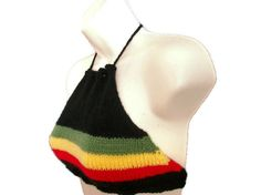 Rasta Crop Top - Hand Knitted, £17.99