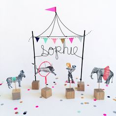 Personalized Circus Cake Topper by WonderfulCollective on Etsy https://www.etsy.com/listing/224701676/personalized-circus-cake-topper