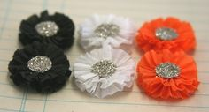 6 Small Crepe Paper Rosettes Halloween Colors by luckygirlgoods, $3.45