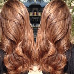 The formula for this sweet auburn caramel color design by @drewjnoreen can be found at modernsalon.com. Search Drew Noreen.