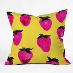 Georgiana Paraschiv Strawberries Yellow and Pink Throw Pillow | DENY Designs Home Accessories