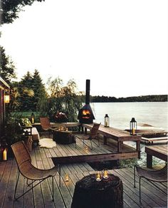 Wood burner, lake side deck, spring evening.