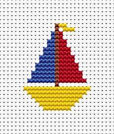 Little yacht simple X-stitch Easy Cross Stitch Patterns, Cross Stitch For Kids, Cross Stitch Cards, Simple Cross Stitch, Cross Stitch Baby, Cross Stitch Designs, Cross Stitching, Cross Stitch Embroidery, Crochet Motifs