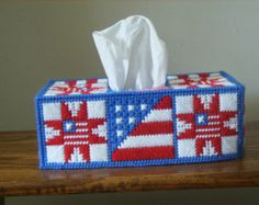 rectangle plastic canvas tissue box cover - Google Search