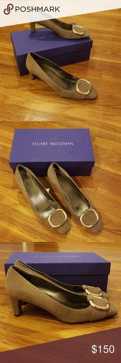 "Stuart Weitzman Buckle Leather Heels Gently worn Stuart Weitzman tan leather heels. Embellished with a gold square buckle.  2.5"" heel Stuart Weitzman Shoes Heels"