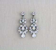 Rhinestone Bridal earrings, Swarovski Wedding earrings, Bridal jewelry, White opal earrings, Chandelier earrings, Statement earrings Vintage by treasures570 on Etsy