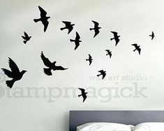 Flying Birds Wall Decal flying sea gulls decal by stampmagick
