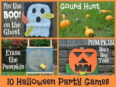 Halloween Games: several Halloween-inspired games, many of which are old favorites given a Halloween twist - Pin the Boo, Gourd Hunt , Erase the Pumpkin, Pumpkin Bean Bag Toss , Spooky Freeze Dance