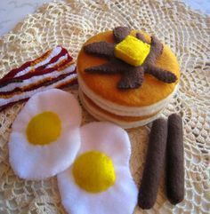 Breakfast set - pancake, eggs, bacons, sausages - eco friendly play food