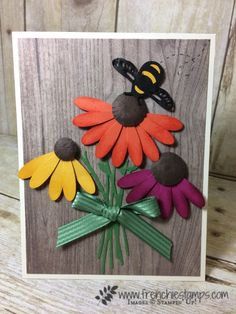 Daisy Punch Coneflower, Detailed Dragonfly thinlits Stampin'Up!