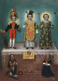 Unidentified Artist . The Christ Child in Three Guises with Indigenous Donors, 1835 - Pintura andina de la época colonial - 20minutos.es