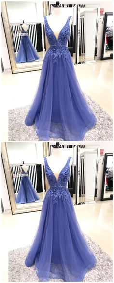 Sexy V Neck Tulle Prom Dress, A Line Appliques Prom Dresses , Long Evening Dress P1031 #promdresses #longpromdress #2018promdresses #fashionpromdresses #charmingpromdresses #2018newstyles #fashions #styles #hiprom #prom #blueprom #mermaid