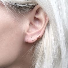 the incredibly delicate circle stud paired with delicate hoops