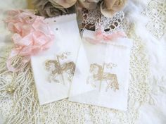 Carousel Horse Small Glassine Favor Candy Bags - Set of 10 - Choice of Ribbon Colors