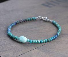 Delicate perline CRISOCOLLA & Amazonite Gemstone Bracciale in