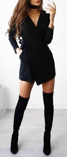 #outfit #ideas · V-neck Black Dress // Knee Length Boots