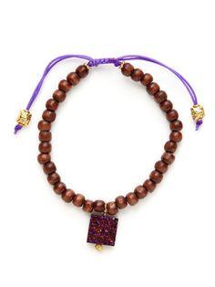 Wood Bead & Purple Druzy Charm Bracelet by Alanna Bess Jewelry on Gilt.com