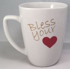 Beautifully crafted white mug with metallic gold letters and a bold red heart is sure to bring out your Southern side!  I use outdoor grade Oracal 651 vinyl. Water proof, and permanent. Hand washing is recommended for the longevity of the product. Pat dry, Do not rub.  This product is Microwave Safe $11.99