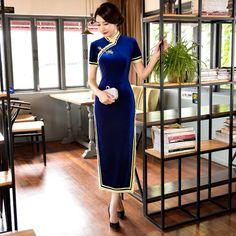 Free Shipping New Sale Velvet  Long Qipao Chinese Women's Clothing Cheong-sam Dress Vintage Qipao For Women's Dress