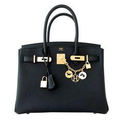 Hermes Black 30cm Birkin Togo Gold Hardware GHW Bag Tote Most Requested
