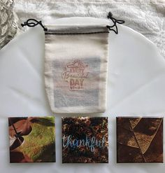 Set of 3 Photographic Square Refrigerator Magnet Thankful