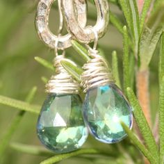 Mystic Quartz Earrings Sterling Silver Wire Wrap Maggie McMane Designs. $36.00, via Etsy.