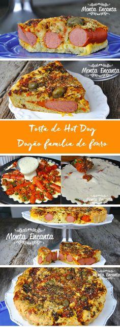 Torta de Hot Dog, com creme de leite na massa e molho de tomate natural, com orégano e salsichas inteiras com queijo de sua preferência.Dogão de forno!