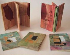 """A Witness to Curious Speed by Alisa Golden. 2005. Three books, 3 3/4"""" x 5 1/2"""" in a triple slipcase, 3 1/2"""" x 5 3/4"""". Edition of 15.Twenty-one total pages with four stenciled prints and four poems about time and change. The books are subtitled: lanes, phases, and channels. Letterpress printed from handset type on acrylic painted papers and paste papers. The triple slipcase was inspired by Hedi Kyle. The books are folded from single sheets of paper."""