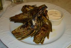 Grilled Artichockes with a Blue Cheese and Lemon aioli