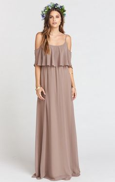 Caitlin Ruffle Maxi Dress ~ Dune Chiffon | Show Me Your MuMu