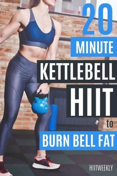 This 20 minute full body kettlebell HIIT workout will help you burn excess belly fat in no time. Kettlebell Workouts For Women, Hiit Workouts With Weights, Kettlebell Hiit, Weights Workout For Women, Great Ab Workouts, Hiit Workouts For Beginners, Full Body Hiit Workout, Weight Training Workouts, Barre Workout