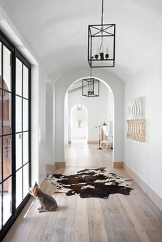 Hall with large windows, fur rug, and rustic pendant lamps