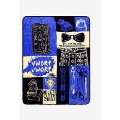 Doctor Who TARDIS Boxes Throw Blanket ($25) ❤ liked on Polyvore featuring home, bed & bath, bedding, blankets, doctor who bedding, travel throw, dr who throw blanket, gold blanket and travel throw blanket