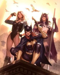 "I'd love to see a future TV series or movie for ""Birds of Prey"" to get redemption for that awful TV series from 2002. Maybe even squaring off against the Gotham City Sirens. A man can dream, right? ""Birds of Prey"" by Alex Garner @alexgarnerart #blackcanary #batgirl #huntress #birdsofprey"